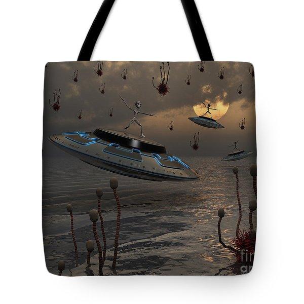 Aliens Celebrate Their Annual Harvest Tote Bag by Mark Stevenson