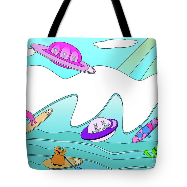 Aliens Go Surfing  Tote Bag