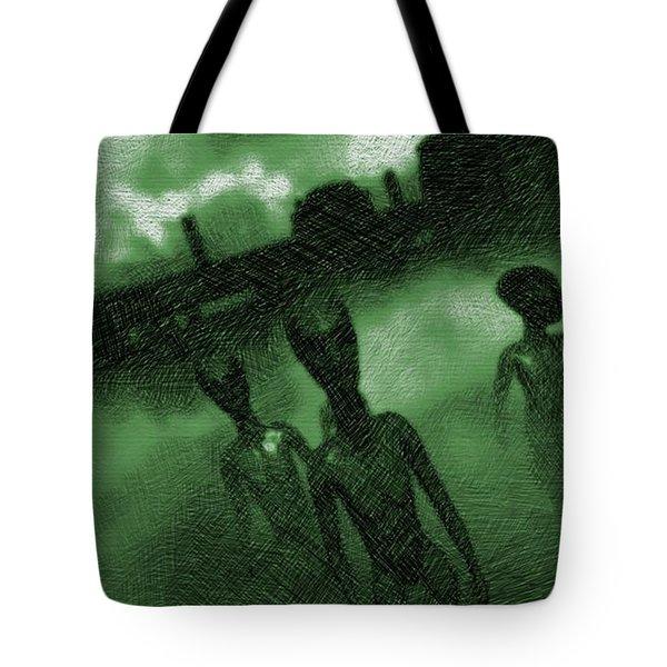 Aliens In Green Fog Tote Bag