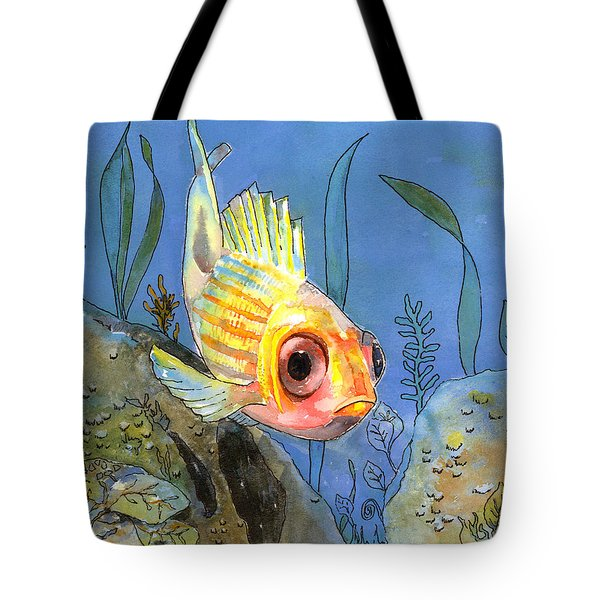 All Alone - Squirrel Fish Tote Bag by Arline Wagner
