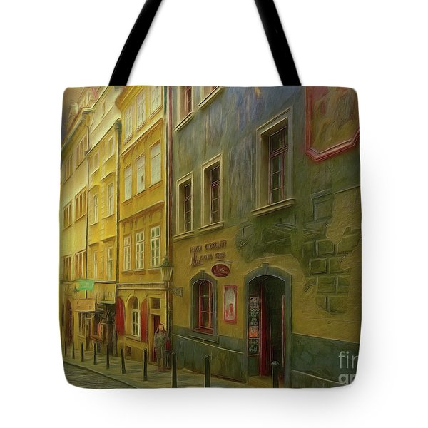 All Downhill From Here - Prague Street Scene Tote Bag