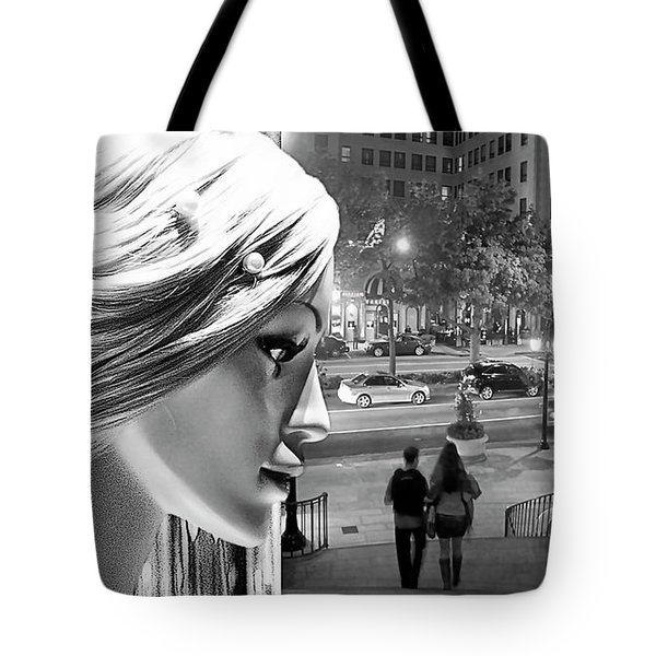 Tote Bag featuring the photograph All Dressed Up And No Place To Go - B W by Chuck Staley