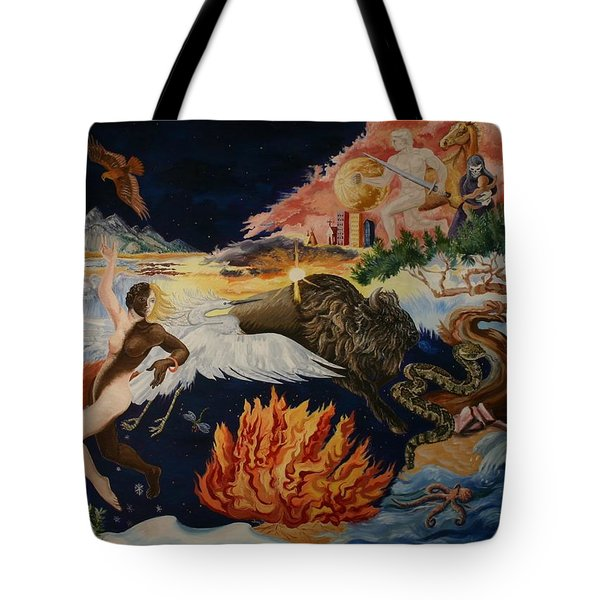 Tote Bag featuring the painting All My Relatives by Dawn Senior-Trask