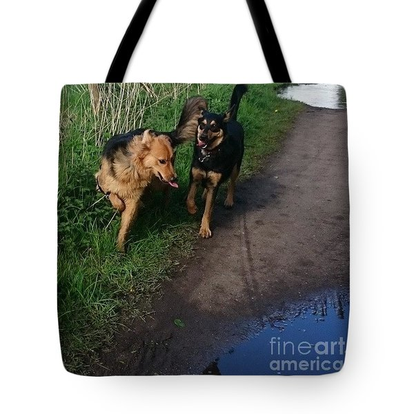 All Play And No Work! #dogs #gsd Tote Bag