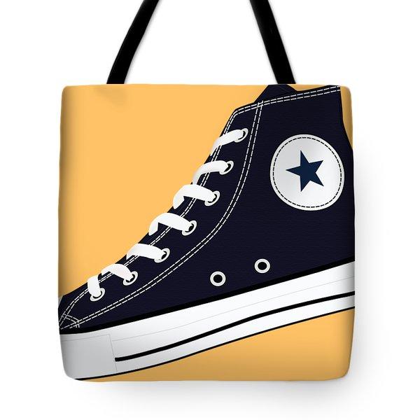 All Star Inspired Hi Top Retro Sneaker In Navy Blue Tote Bag