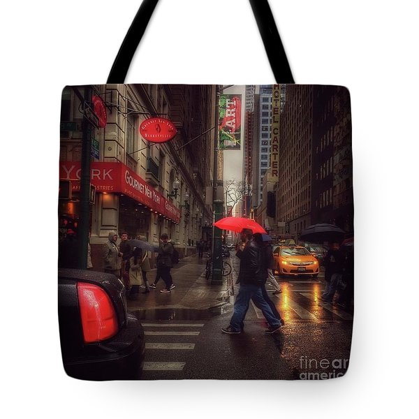 All That Jazz. New York In The Rain. Tote Bag