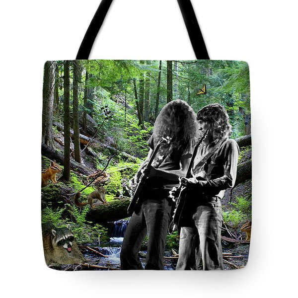 Tote Bag featuring the photograph Allen And Steve Jam With Friends On Mt. Spokane by Ben Upham