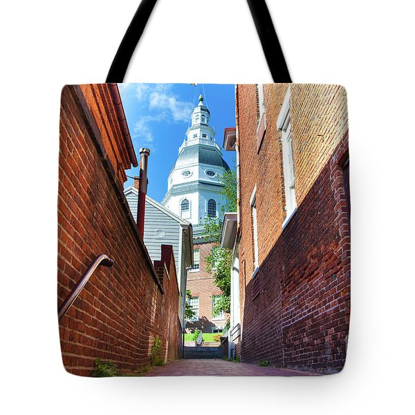 Alley View Of Maryland State House  Tote Bag