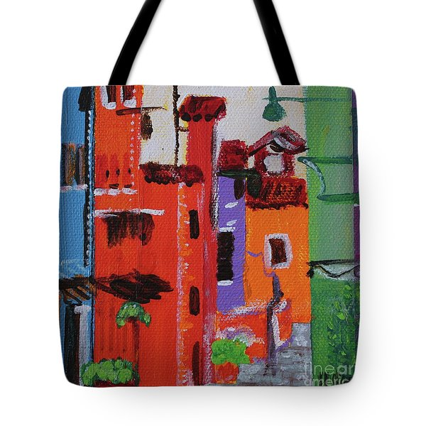 Tote Bag featuring the painting Alley Walk by Kim Nelson