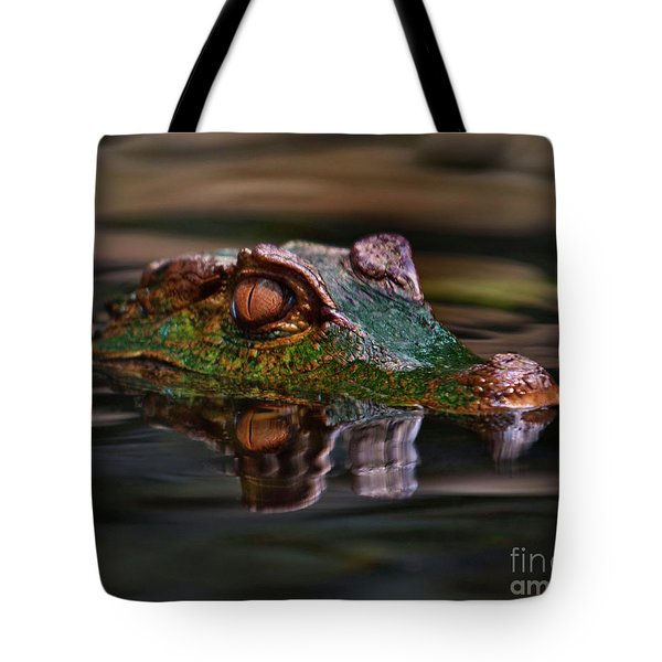 Alligator Above Water Reflection Tote Bag