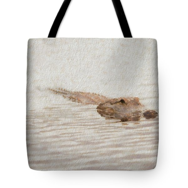 Alligator Waiting In The Water Tote Bag