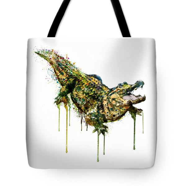 Alligator Watercolor Painting Tote Bag by Marian Voicu
