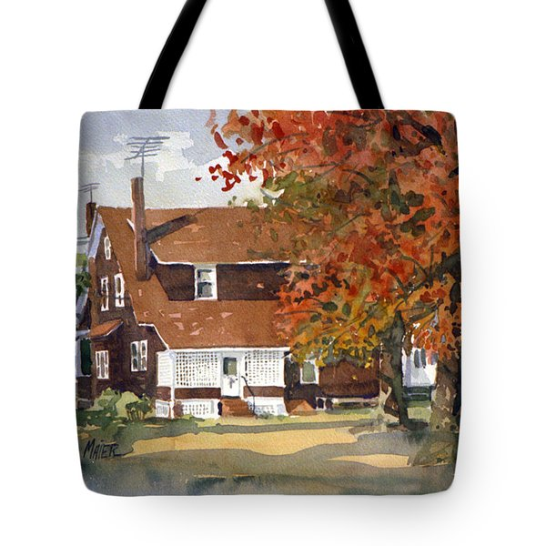 Tote Bag featuring the painting Allison's House by Donald Maier