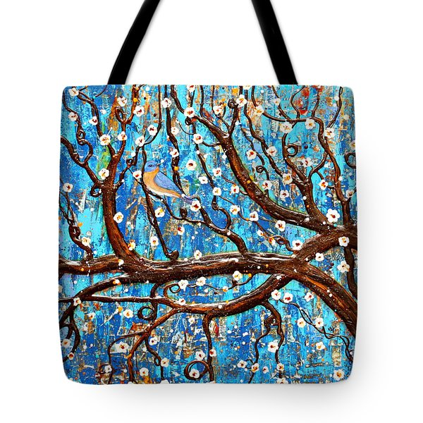 Tote Bag featuring the mixed media Almond Blossoms by Natalie Briney