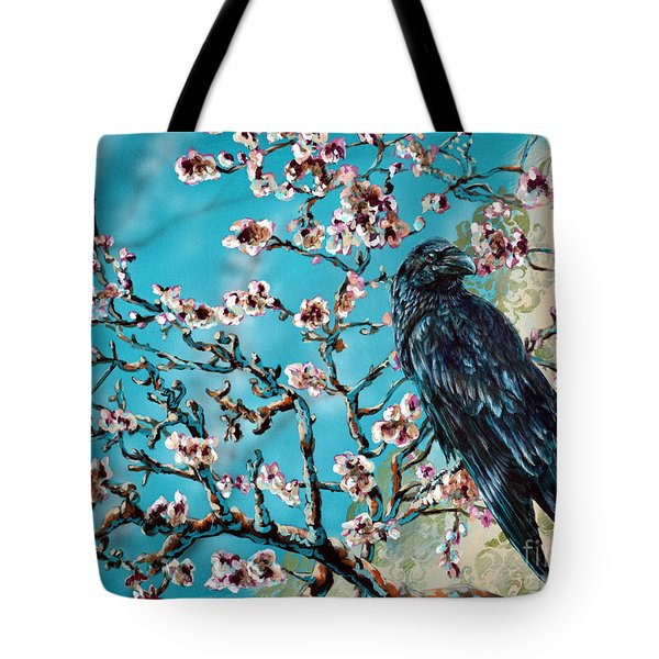 Almond Branch And Raven Tote Bag