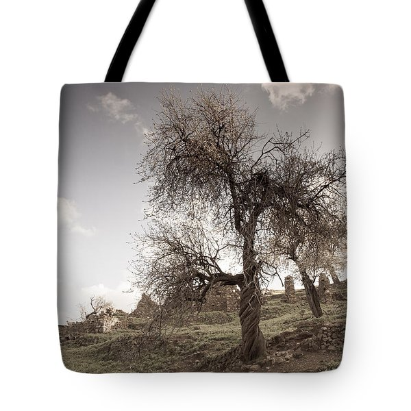 Almond Trees In Abandoned Village Tote Bag