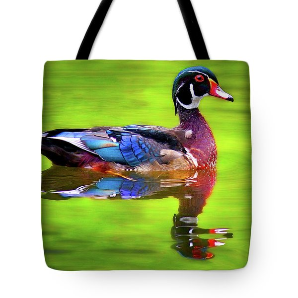 Tote Bag featuring the photograph Almost Perfect Wood Duck by Jean Noren