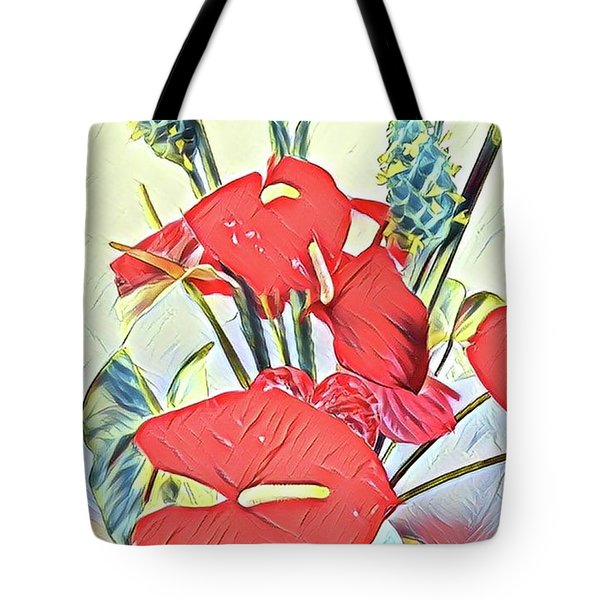 Aloha Bouquet Of The Day - Anthuriums And Green Ginger In Blue Tote Bag