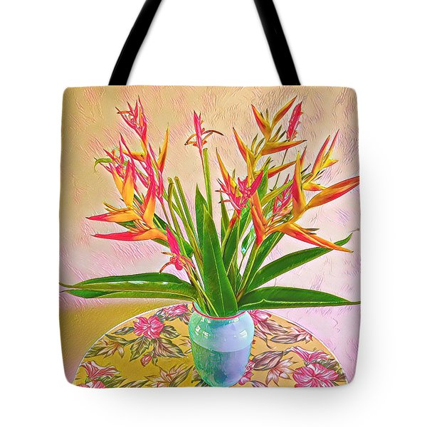 Aloha Bouquet Of The Day Halyconia And Birds In Pink Tote Bag