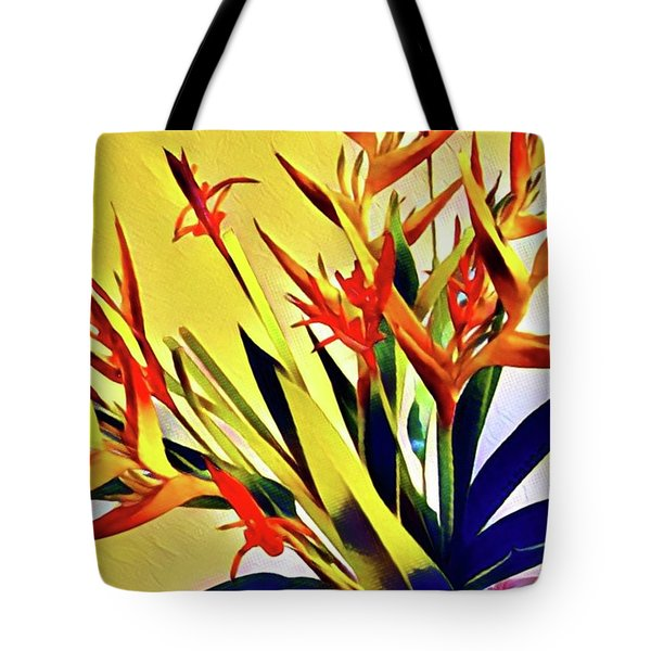 Aloha Bouquet Of The Day - Halyconia Birds In Orange Tote Bag