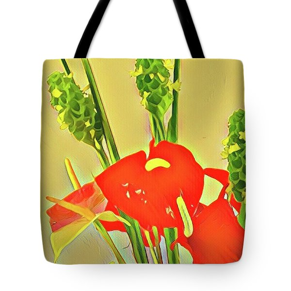Aloha Bouquet Of The Day -- Red Anthuriums With Green Ginger, A Portion  Tote Bag
