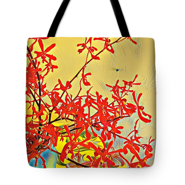 Aloha Bouquet Of The Day -- Red Orchids In Blue Vse Tote Bag
