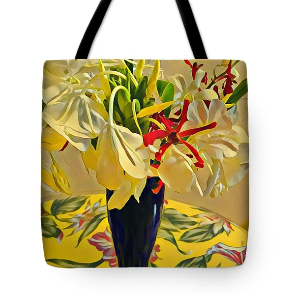 Aloha Bouquet Of The Day - White Gingert With Red Orchids - A New Hue Tote Bag