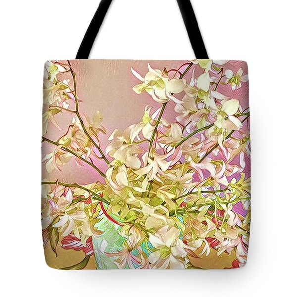 Aloha Bouquet Of The Day - White Orchids In Pink Tote Bag