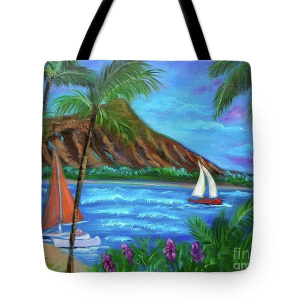 Aloha Diamond Head Tote Bag by Jenny Lee