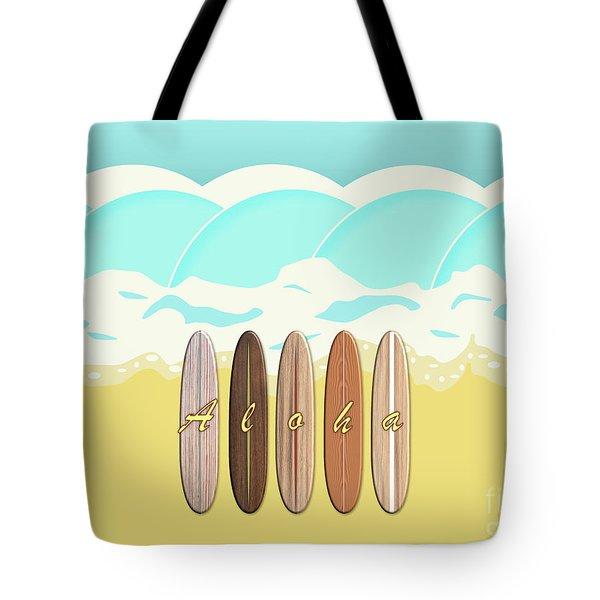 Aloha Surf Wave Beach Tote Bag