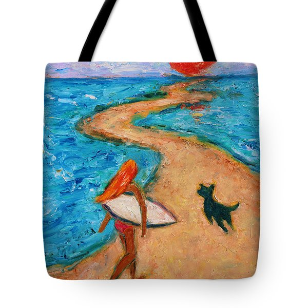 Tote Bag featuring the painting Aloha Surfer by Xueling Zou