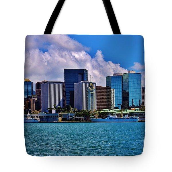 Aloha Tower Downtown Tote Bag by Craig Wood