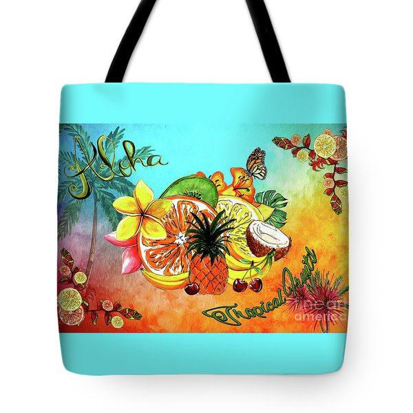 Tote Bag featuring the digital art Aloha Tropical Fruits By Kaye Menner by Kaye Menner
