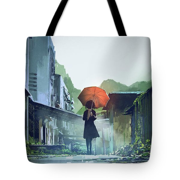 Tote Bag featuring the painting Alone In The Abandoned Town by Tithi Luadthong