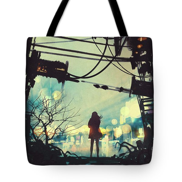 Tote Bag featuring the painting Alone In The Abandoned Town#2 by Tithi Luadthong