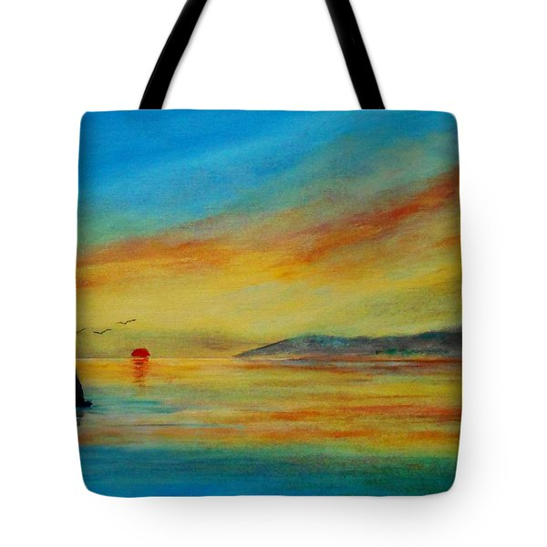 Alone In Winter Sunset Tote Bag