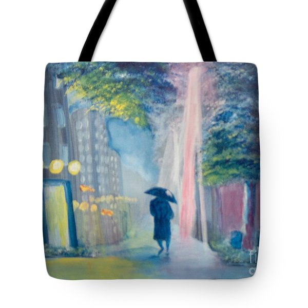 Tote Bag featuring the painting Alone by Saundra Johnson