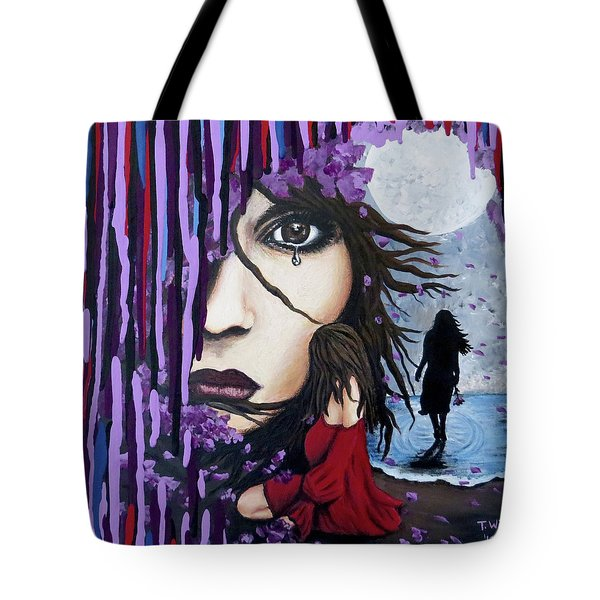 Tote Bag featuring the painting Alone by Teresa Wing
