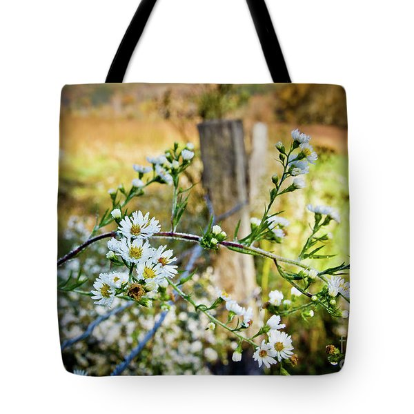Tote Bag featuring the photograph Along A Fence Row by Douglas Stucky