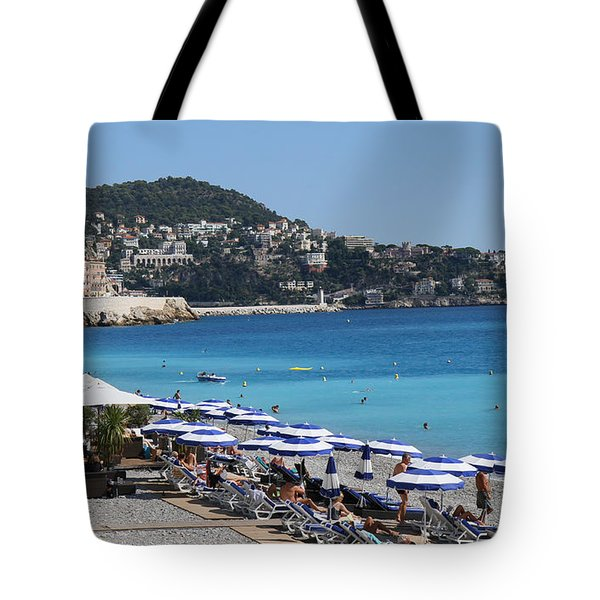 Along The Beach In Nice Looking Over Toward Monaco Tote Bag by Rod Jellison