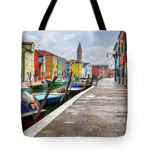 Along The Canal In Burano Island Tote Bag by Evgeni Dinev