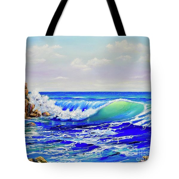 Tote Bag featuring the painting Along The Coast by Mary Scott