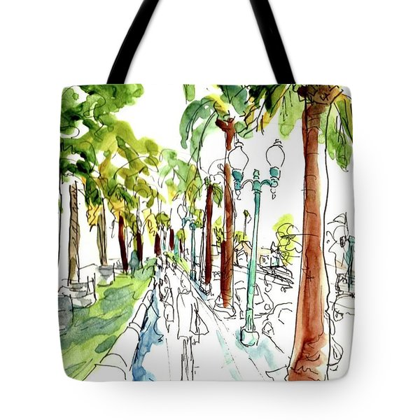 Along The Embarcadero At Justin Herman Plaza Tote Bag