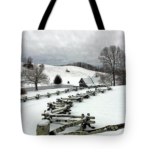 Along The Locust Rails In Winter Tote Bag