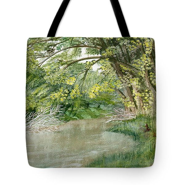 Tote Bag featuring the painting Along The Susquehanna by Melly Terpening