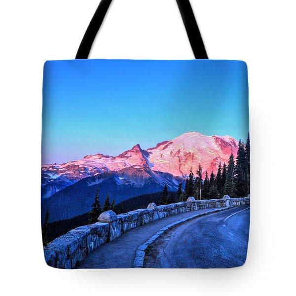 Alpenglow At Mt. Rainier Tote Bag