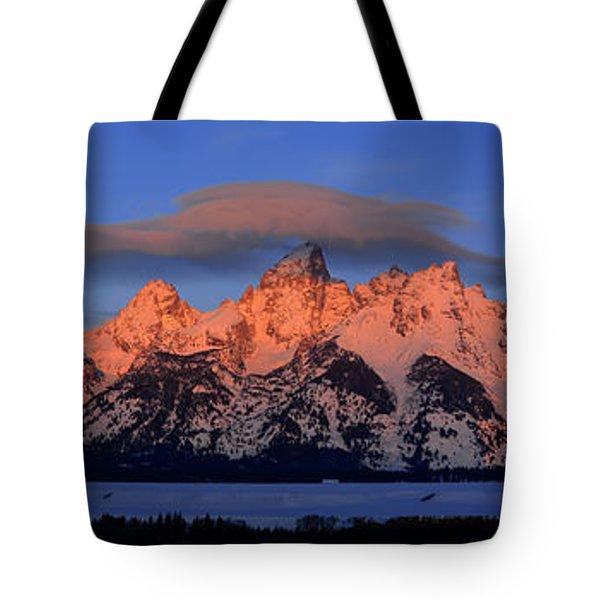 Alpenglow Tetons 2 Tote Bag