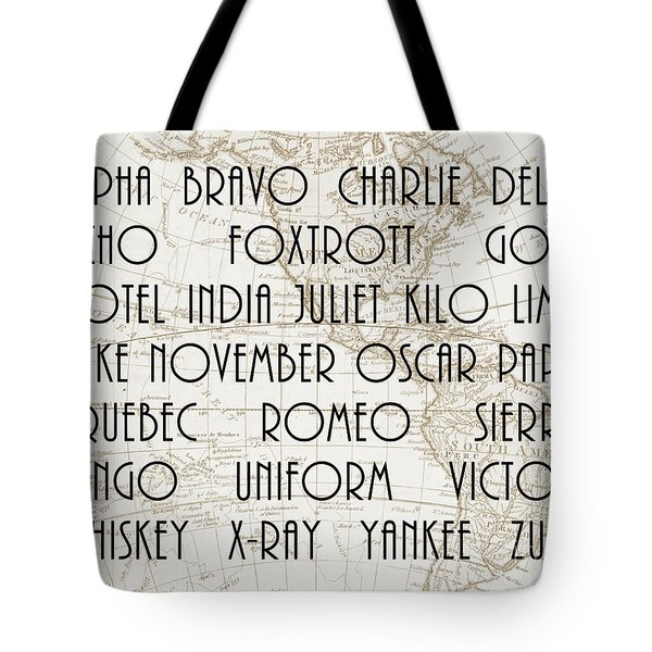 Alpha Bravo Charlie Tote Bag by Delphimages Photo Creations