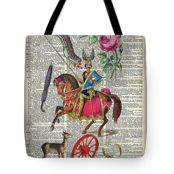 Alphabet Book Illustration Over Old Dictionary Book Page Tote Bag