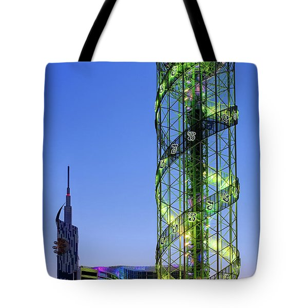 Tote Bag featuring the photograph Alphabetic Tower by Fabrizio Troiani